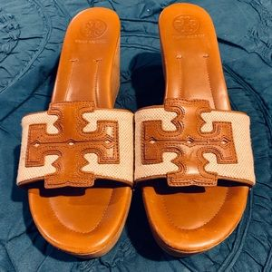 Tory Burch brown leather slide wedge, size 9.5